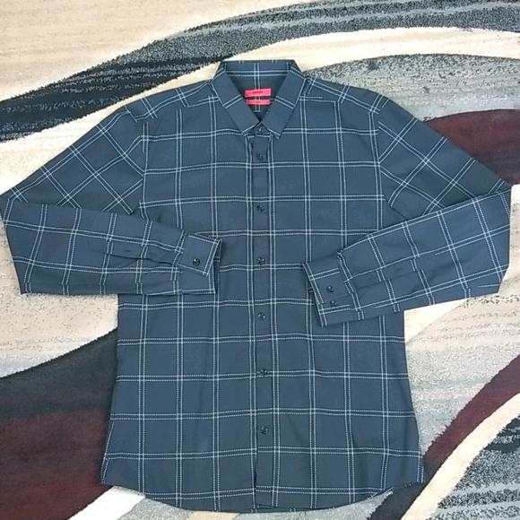 Hugo Boss Black Dress Shirt with White Stitching
